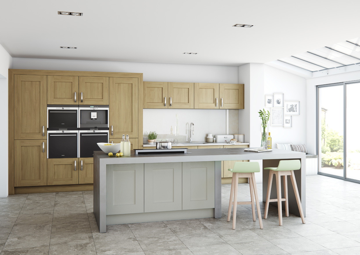 Clonmel Oak: stained Light Oak and painted Stone - Kitchen Solutions ...
